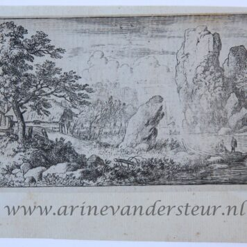 [Antique landscape print, etching/ets] The square boulder at the bank of the river/ De vierkante rots aan de oever van de rivier, published 1631-1675.