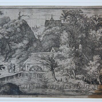 [Antique landscape print, etching] The water mill (watermolen) at the foot of the mountain. [Set: eight landscapes], published 1631-1675.