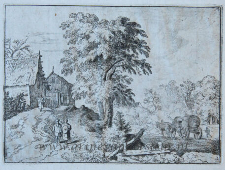[Antique print, etching] The cart with the two draught horses/De kar met twee trekpaarden, published 1631-1675.