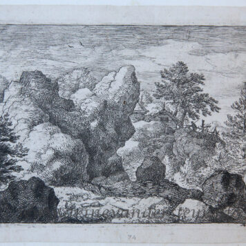 [Antique landscape print, etching] The pointed rock/De puntige rots, published 1631-1675.