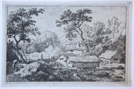 [Antique landscape print, etching] The water-mill near the waterfall/De watermolen bij de waterval, published 1631-1675.