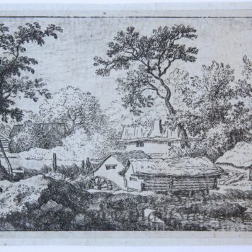 [Antique landscape print, etching/ets] The branch in the water/de tak in het water, published 1631-1675.