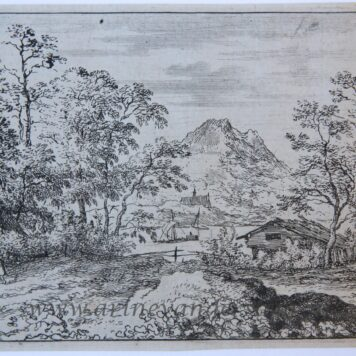[Antique landscape print, etching/ets] The broad river/De brede rivier, published 1631-1675.