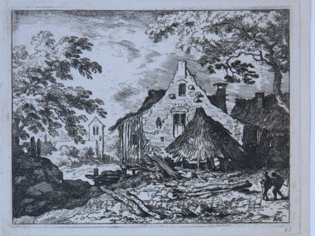 [Antique landscape print, etching/ets] The haybarn with the movable roof/De hooiberg met beweegbaar dak, published 1631-1675.