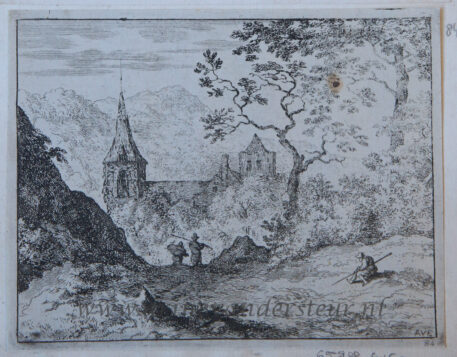 [Antique landscape print, etching/ets] The church in the valley/Kerk in de vallei, published 1631-1675.