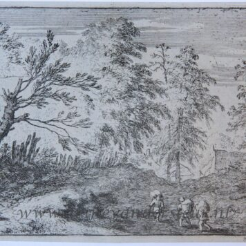 [Antique landscape print, etching/ets] The three porters/De drie dragers, published 1631-1675.