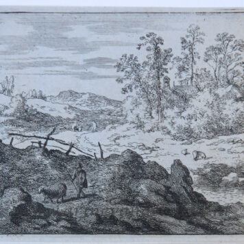 [Antique landscape print, etching/ets] The shepherd and the lamb/De schaapsherder met lam, published 1631-1675.