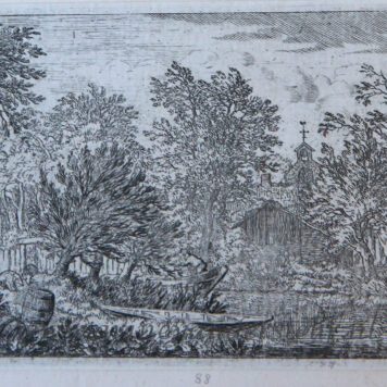 [Antique landscape print, etching/ets] The boat at the river bank/Boot aan de rivieroever, published 1631-1675.