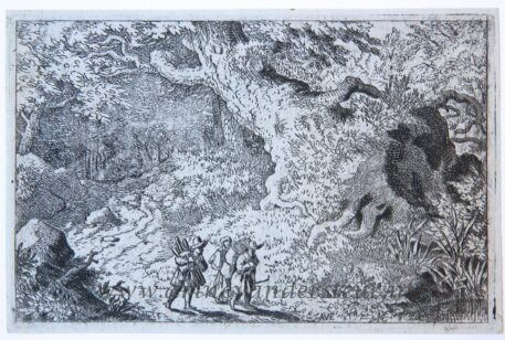 [Antique landscape print, etching/ets] The thick forest/Het ondoordringbare bos, published 1631-1675.