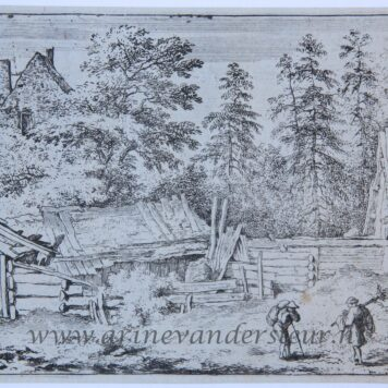 [Antique landscape print, etching/ets] The three cottages/De drie kleine huisjes, published 1631-1675.