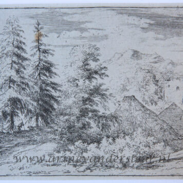 [Antique landscape print, etching/ets] The man between the two fir-trees/de man tussen de twee hoge sparren, published 1631-1675.