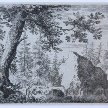 [Antique landscape print, etching/ets] The boulder in the woods/De rots in de bossen, published 1631-1675.