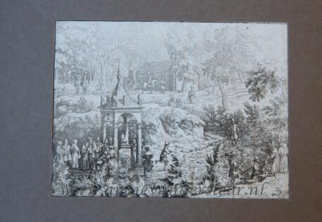 [Antique landscape print, etching/ets] View on the spring of Geronstère. [Set of the Four mineral springs in Spa (or Eidsvold in Norway)]/De bron van Geronstere bij Spa in België, published 1631-1675.