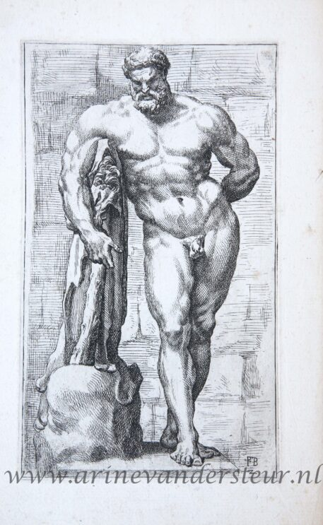 [Antique mythology print, etching] Hercules Farnese, two plates ['Segmenta nobilium signorum et statuarum.', published 1638]