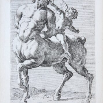 [Two antique mythology prints, etchings] A Centaur with Cupid, two plates ['Segmenta nobilium signorum et statuarum.', published 1638]