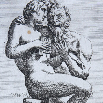 [Antique print, etching, mythology] Pan and Daphnis ['Segmenta nobilium signorum et statuarum.', published 1638]