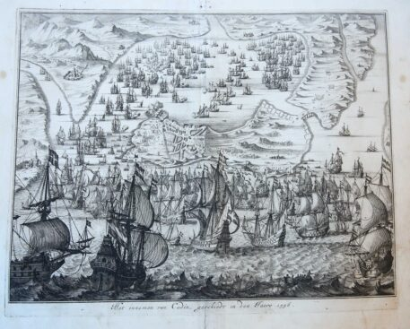 [History print published 1684] 'Het innemen van Cadix'; Capture of Cádiz, 1596.