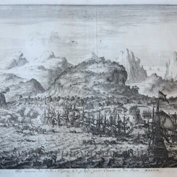 [History print Gran Canaria published 1684] 'Het veroveren der Stadt Allegona in 't eylandt groot Canaria'; capture of the city Allegona on Gran Canaria, 1599