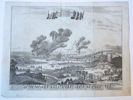 [History print, etching published 1687] 'Afbeelding van de Stad en Revier van Rochester, Chattam'; Raid on the Medway, 1667