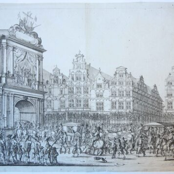[Antique print, etching] Arrival of procession of Maria de' Medici along the Nieuwendijk on the Dam, 1638, published 1639.