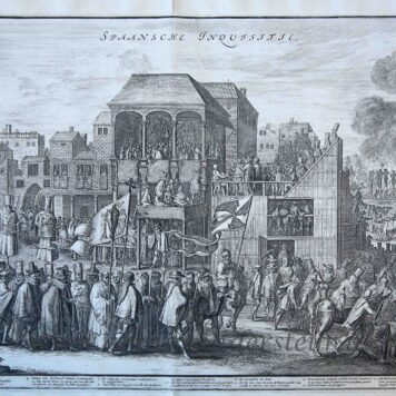 [History print, etching] 'Spaansche Inquisitie'; Spanish Inquisition, published 1650-1700.
