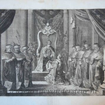 [Antique historical print, etching] Amsterdam receives the imperial crown from Emperor Maximilian, image from the triumphal arch for Maria de' Medici's entry into Amsterdam, 1638, published 1639.