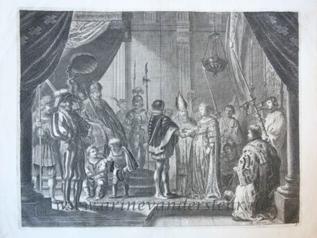 [Antique history print, etching] Wedding Francesco I de' Medici and Joanna of Austria; image from the triumphal arch for Maria de' Medici's entry into Amsterdam, 1638, published 1639.