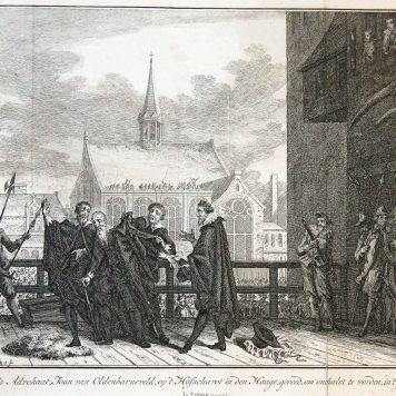 's Lands Advokaat, Joan van Oldenbarneveld, op 't Hofschavot in den Haage'; Van Oldenbarneveld on the scaffold, 1619.