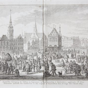 [Antique print, etching/ets] 'Jaarlyksche Ommegang der Gildens en Leproozen'; Procession of guild members and lepers in Amsterdam on 'koppermaandag' in 1604, published 1769.