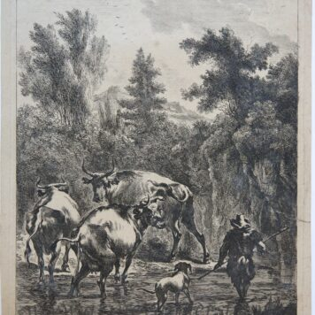 [Antique print, etching] Herd, dog and three cows crossing a ford/ Kudde schapen, hond en drie koeien die een doorwaadbare plaats oversteken,