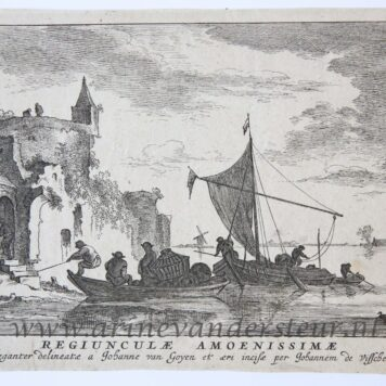 [Antique print, etching and engraving] Title page of the River Landscapes. [Regiunculæ Amoenissimæ eleganter delineate Johanne van Goyen et æri incisæ per Johannem de Visscher]