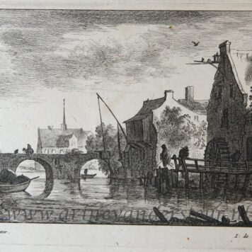 [Antique print, etching and engraving] Watermill near a bridge. [Regiunculæ Amoenissimæ eleganter delineate Johanne van Goyen et æri incisæ per Johannem de Visscher]