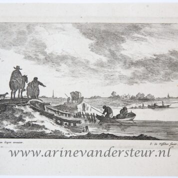 [Antique print, etching and engraving] Houses on a mouth of a river. [Regiunculæ Amoenissimæ eleganter delineate Johanne van Goyen et æri incisæ per Johannem de Visscher]