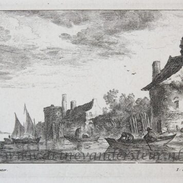 [Antique print, etching and engraving] River landscape [Regiunculæ Amoenissimæ eleganter delineate Johanne van Goyen et æri incisæ per Johannem de Visscher], published after 1653.