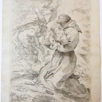[Antique print, etching] Saint Francis presenting the Child to the Virgin, ca 1590.