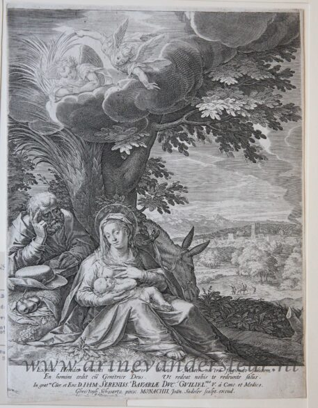 [Antique print, engraving] Rest on the Flight into Egypt/Rustpauze tijdens de vlucht naar Egypte,