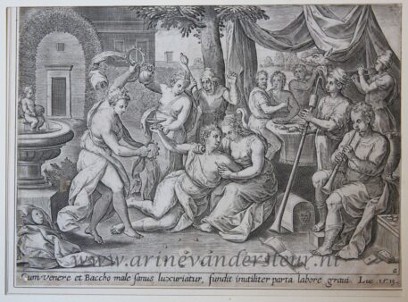 [Antique engraving] The Prodigal Son wasting his substance