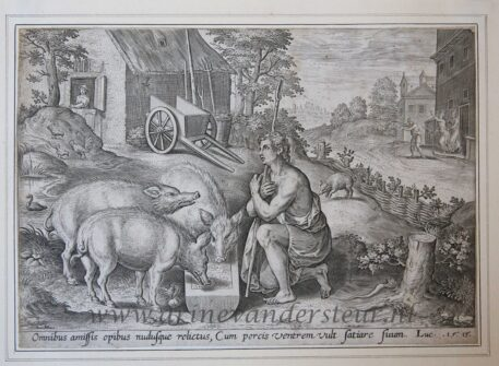 [Antique engraving] The Prodigal Son as a swine herd