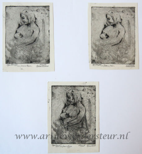 [Original etchings] Mother and child, 1954.