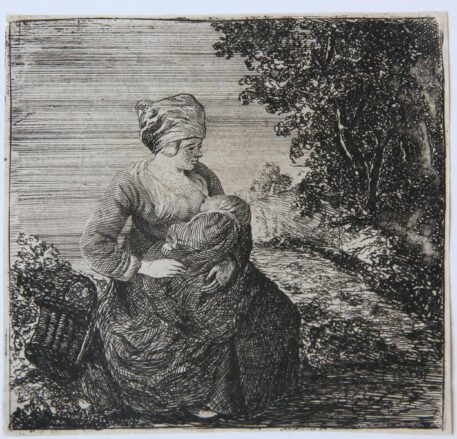 [Original etching] A mother (een moeder), ca 1650-1700.
