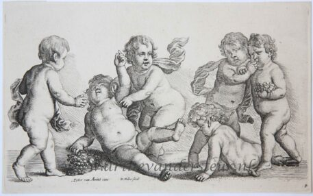 [Original etching] Five boys and a satyr [Paedopaegnion], ca 1625-1677.