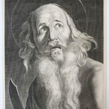 [Original engraving] St. Bartholomeus with his sword