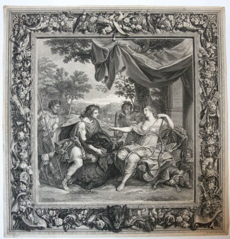 [Original etching] Meleager and Atalanta (tapisserie of the Duc d'Orleans),