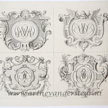 [Original etchings] Set of decorated monograms/