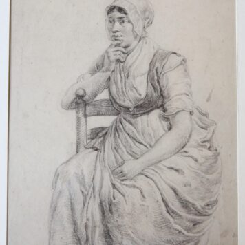 [Original drawing] Seated woman (zittende vrouw),