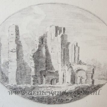 [Original drawing] Ruins of Huis ter Kleef castle near Haarlem,