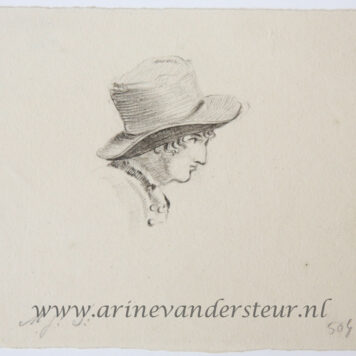 [Original drawing] Profile head of a man with a hat (profiel van man met hoed)