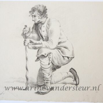 [Original drawing] Man kneeling (knielende man)