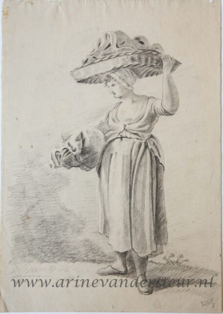 [Original drawing] Woman carrying a basket (