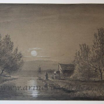 [Original drawing/tekening] Nocturnal landscape, ca 1850-1900.